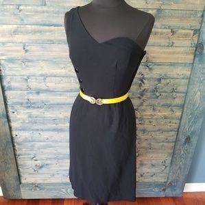 Vtg One Shoulder LBD little black dress 50s